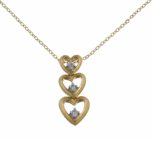 9ct Yellow Gold Diamond Triple Heart Pendant + 46cm Trace Chain