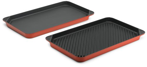 Chef's Design 20-Inch Grill/Griddle Set, Red