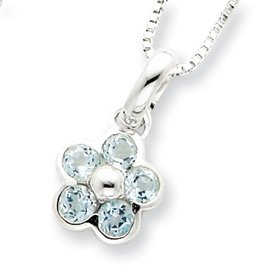 Sterling Silver Blue Topaz Flower Pendant and Box Chain 16 inch Necklace