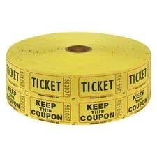 Two (2) Rolls of Two-part Yellow Double Roll Raffle Tickets Totaling 4,000 Tickets