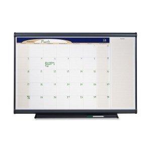 Quartet Prestige Total Erase Dry-Erase One-Month Calendar, 4 x 3 Feet, Graphite Frame (CP43)