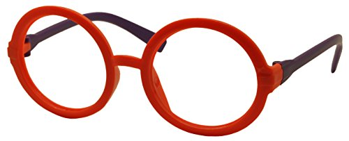 FancyG® Retro Geek Nerd Style Round Shape Kids 3-12 Glass Frame NO LENSES - Orange Purple