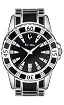 Luxury Watches Sale - Bulova Men's Diamond Accented Case Bracelet Black Dial Watch #98E107