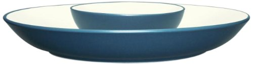 Noritake Colorwave Chip And Dip Server, 13-3/4-Inch, Turquoise Blue