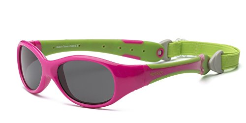 Real Kids Shades Cherry Pink/Lime Green Flex Fit Removable Band Smoke Lens 2+ Sunglasses