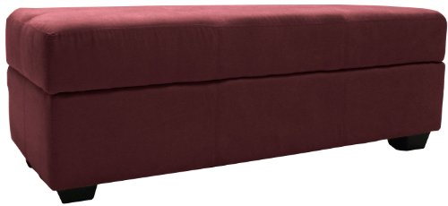 Epic Furnishings Microfiber Upholstered Tufted Padded Hinged Loveseat Storage Ottoman Bench, Suede Wine Red