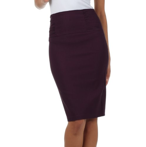 Sakkas Petite High Waist Stretch Pencil Skirt with Shirred Waist Detail ( Choose from 6 Colours )
