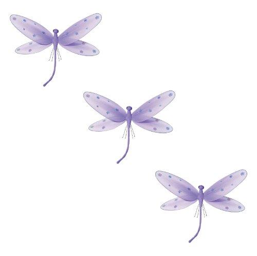 3-teilig Libelle für Mädchen-Kinderzimmer Dekoration zum Aufhängen, Wanddeko für Geburtstag, Babyparty oder Hochzeit, Größe SMALL Libelle - Lila