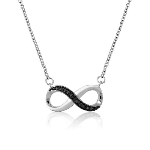 "Sterling Silver 16"" + 2"" extension Pave-look and Black Diamond Accent Infinity Figure 8 Necklace"
