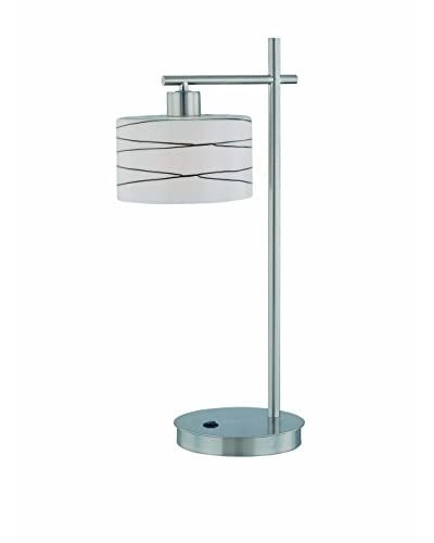Lite Source Lenza Table Lamp, Polished Steel/Black