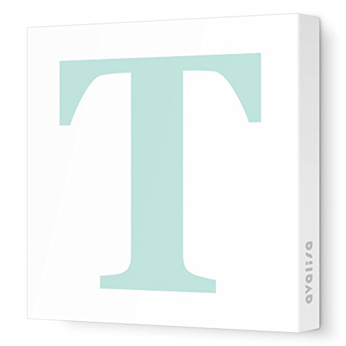 "Avalisa Stretched Canvas Upper Letter T Nursery Wall Art, Aqua, 12"" x 12"""