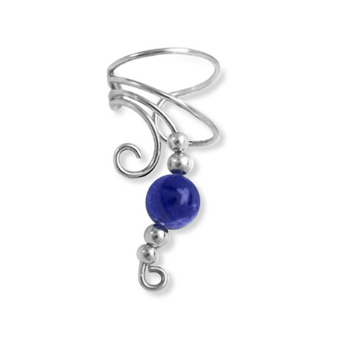 Bling Jewelry Ear Cuff Left Ear Lapis Gemstone Bead Long Wave 925 Sterling Silver
