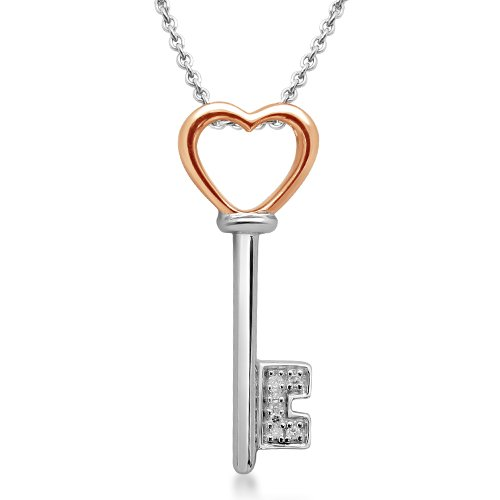 """10k Rose Gold and Sterling Silver Diamond Heart Pendant (0.02 cttw, I-J Color, I3 Clarity), 18"""""""