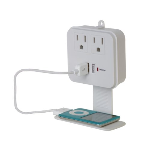 Globe Electric 4608201 2-Outlet Surge Protector With 2 Usb Charging Ports -Removable Phone Shelf