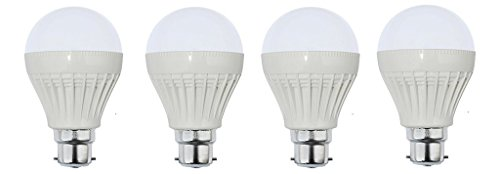 12W B22 Plastic Body White LED Bulb (Pack of 4)