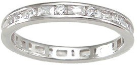 Sterling Silver Women's Eternity Anniversary Wedding Ring Sizes 5 6 7 8 9 and 10 (10)