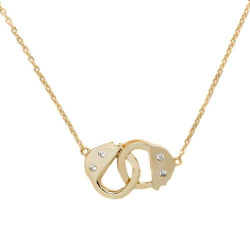 Gold Vermeil Over Silver Handcuff Necklace with Cz Accent