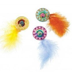 """SPOT """"Spotnips"""" Plastic Space Balls with Feathers Cat Toy"""