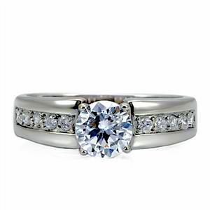 Classic Style 1.30 ct Stainless Steel CZ Solitaire Engagement Ring with 4 pt Tiffany Setting (sizes 5 to 10)