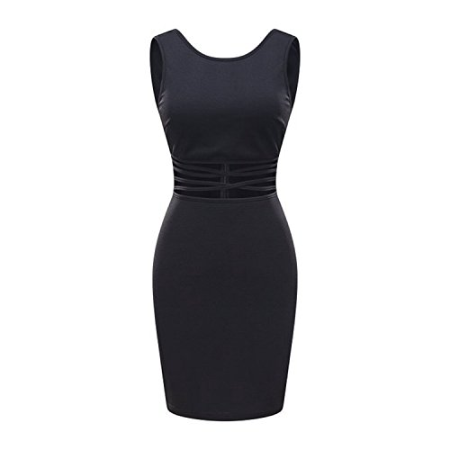 Searia Women Slim Strappy Tank Vest Cut Out Backless Mini Bodycon Cocktail Dress Black X Large