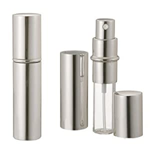 niceEshop(TM) 2Pcs x 5ml Unisex Travel Perfume Aftershave Atomizer Atomiser Pump Spray Bottle Handbag Refillable Atomizer-Silver