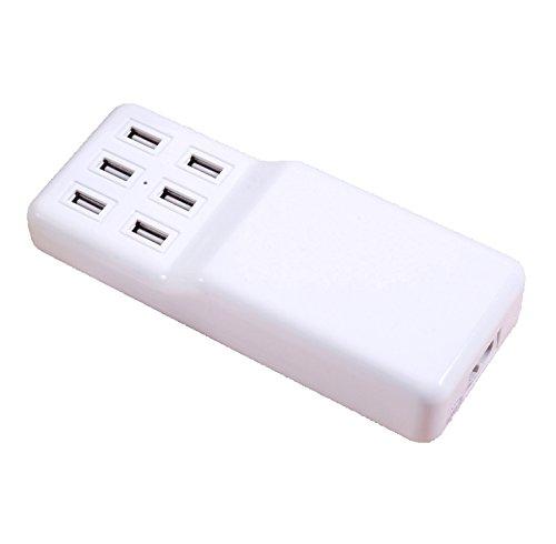 Ronsen W836 USB Ladegerät - 6 Port 5V/12A Universal kompatibel Tragbare Multi-Port USB Hub Schnell Ladegerät für Apple iPhone/iPad Samsung Galaxy Android Smartphones Tablets Kameras
