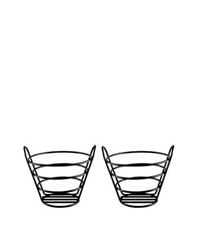 D&V Set of 2 Iron Bread Baskets, Black
