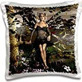 WhiteOak Goth Fairy Designs - Epiphany Goth Fairy by Tree - 16x16 inch Pillow Case