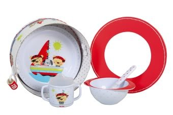 Baby Feeding Dinnerware Set. Plate, Bowl,Cup and Spoon. Pirates Collection