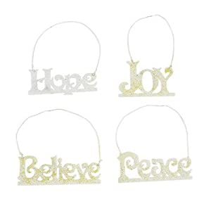 12 PACK - CHRISTMAS TREE HOLIDAY DECORATIONS INSPIRING FAITH WORD ORNAMENTS: PEACE - HOPE - JOY - BELIEVE