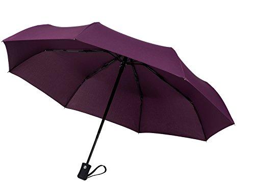"""60mph antivento Ombrelli di viaggio: garantita a vita ricambio programma """"chiusura automatica Auto Open Compact ombrelli non si rompe se la Inside Out-Un servizio clienti Supported prodotto, Eggplant Purple (nero) - TU-200"""