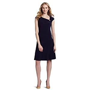 Dress  York on New York Women S Ring Assymetrical Neckline Seamed Aline Matte Dress