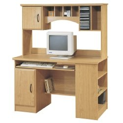 Buy Low Price Comfortable Honey Oak Computer Desk and Hutch (B0017LVQ90)
