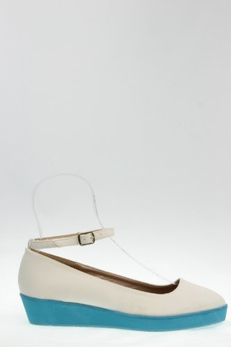 Ralphy-08 White, R 5, women's cute fashion, Mary Jane contrast color wedge flat w/ ankle strap, size 7
