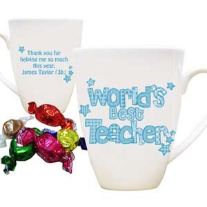 Personalised World's Best Teacher Blue Mug with Chocolates