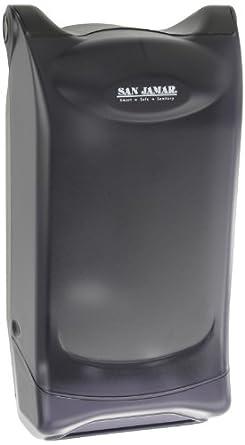 "San Jamar H5001P Venue Wall Mount Fullfold Classic Napkin Dispenser, 600 Capacity, 8"" Width x 15-3/4"" Height x 7-3/4"" Depth, Black Pearl"
