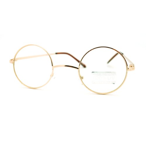 Gold Round Circle Clear Lens Eyeglasses Small Size Thin Frame Unisex Glasses