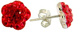 Silver crystal Stud Earrings by GlitZ JewelZ © - cute flower design bling bling!! - made with over 40 swarovski crystals - comes packed inside a lovely velvet pouch - Siam Red color