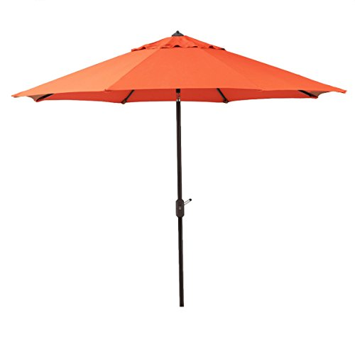 Bayside21 - 9' Sunbrella Auto Tilt Patio Market Umbrella Canvas Rust