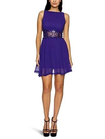 AX Paris Sequin Crochet Waist Chiffon Skater Sleeveless Women's Dress Purple Size 8