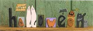 Happy HALLOWEEN wooden word Blocks Decor