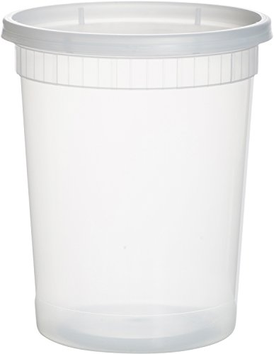 Paksh Novelty Plastic Containers for Lunch / Large Food Container with Lid, Leak Proof, Microwavable, Freezer & Dishwasher Safe, 32 Ounce, 24 Pack (Round Ice Cream Container compare prices)