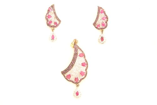 Fashion Balika Fashion Jewelry Gold-Plated Pendant Set For Women Pink-BFJER116 (Multicolor)
