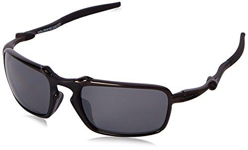Oakley Men's Badman OO6020-01 Polarized Iridium Rectangular Sunglasses, Dark Carbon, 60 mm