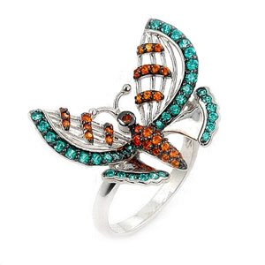 Sterling Silver Turquoise & Orange Colored Ferroni Swarovski Zirconia Butterfly Right Hand Ring
