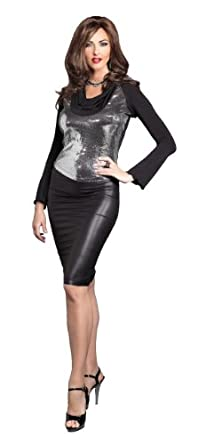 Amazon.com: Suddenly Fem Exciting Sequin Drape Neck Top - Medium