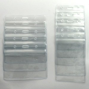 KLOUD City ® 10 pcs (5 vertical style and 5 horizontal style) Clear PVC business ID badge card holder case with slot & chain Holes