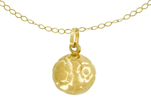 9ct Yellow Gold Football Pendant on Trace Chain Necklace 46cm/18
