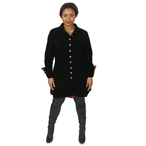 Velvet Black Pirate Jacket Adult Female Plus Costume 1X (Female Pirate Jacket)