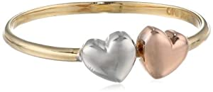 14k Tri-Color Gold Double Heart Ladies Ring, Size 7